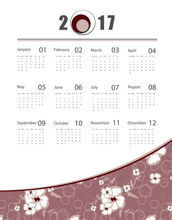saved: 2017 floral calendar design. Seamless floral pattern is saved in swatch panel. Elements for your work. Illustration