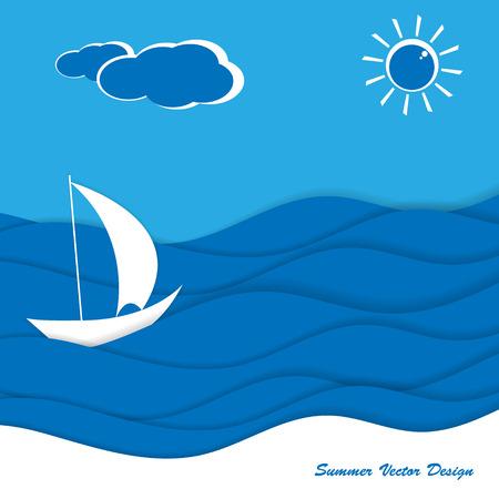 promenade: Seaside   design. Illustration of the summer vacation.
