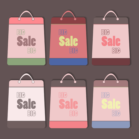 sale icons: Big sale vector bags set. Retro style flat icons with shadows. Illustration