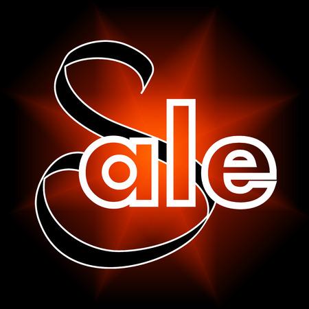 colorful  sale sign  over bright  background. Illustration