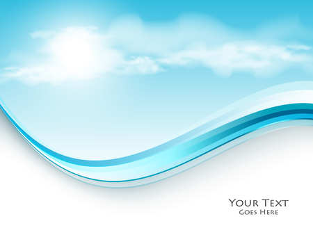 Vector blue sky background with wavy border and copy space. Colorul illustration. Eps10 Illustration