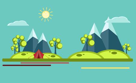 summer camping flat illustration Stock Photo