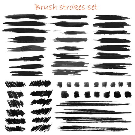 Grungy vector brush strokes set