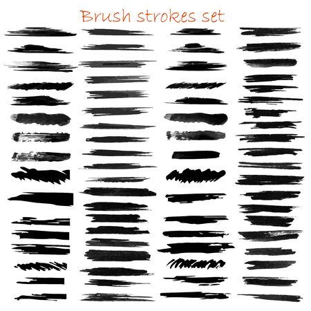 grungy hand made vector brush strokes big set. Elements for design. Eps10
