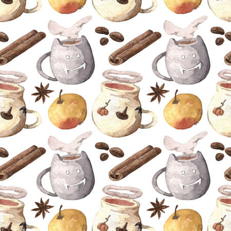 Watercolor seamless autumn-themed pattern. The hand-drawn backdrop for the fabric, wrapping paper or another packaging.