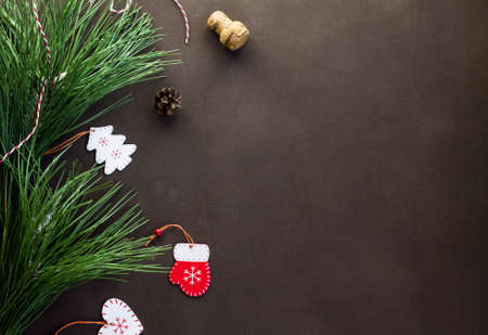 christmas layout for text christmas tree and christmas toys on brown background 版權商用圖片