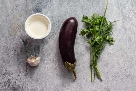 raw ingredients fucking fried eggplant with garlic sauce
