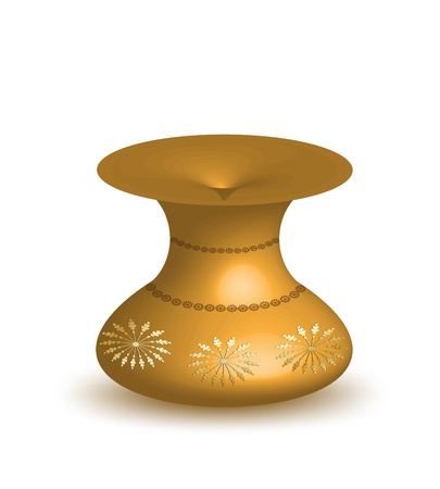 Gold vase isolated on white background   Vector