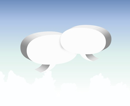 Speech bubble clouds on the sky   Vector