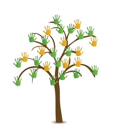 Tree with hand Vector