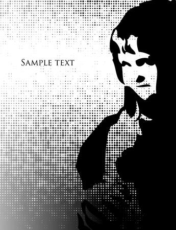 chaume: silhouette de femme avec des cheveux noirs