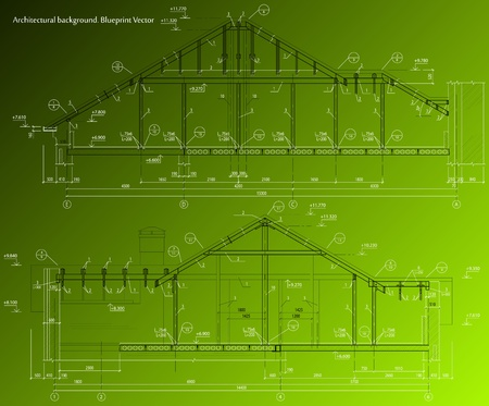 House facade on green background  blueprint Illustration