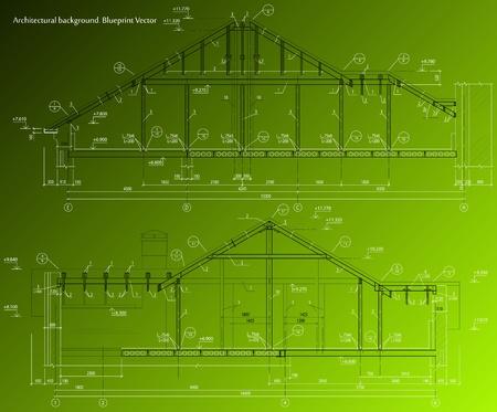 House facade on green background  blueprint Illustration