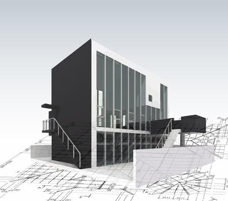 건축가: 계획과 청사진 아키텍처 모델 하우스