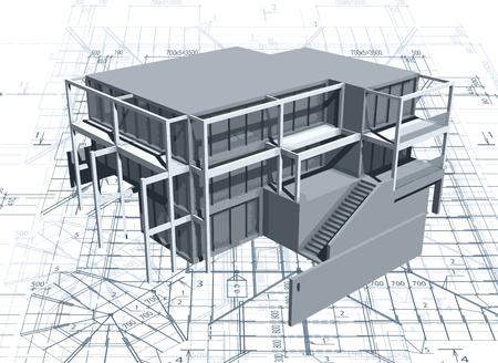 cad drawing: 建築模型房子的藍圖 向量圖像