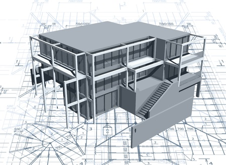 exterior architectural details: Architecture model house with blueprint Illustration