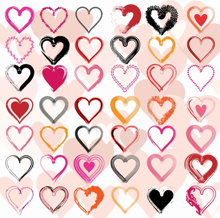 Set of scribble hearts with grungy texture  Vector