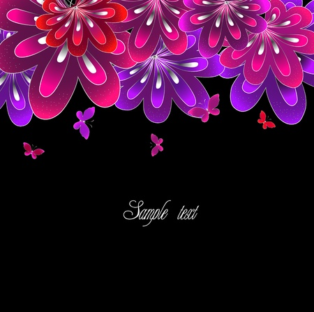 Flower pink on black background   Vector
