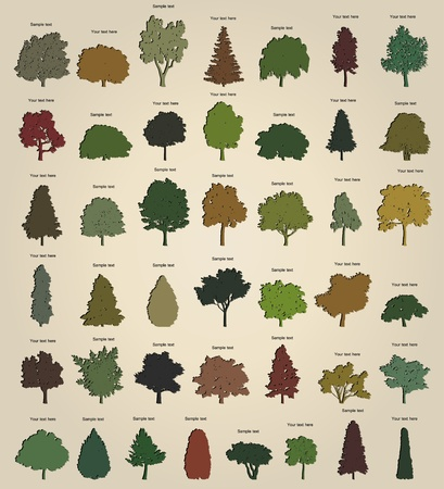 Set of retro trees Vector