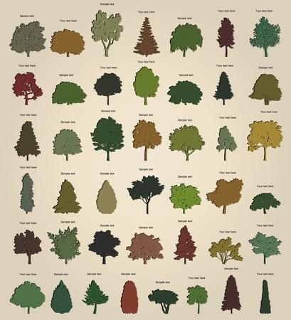 Set of retro trees Vector