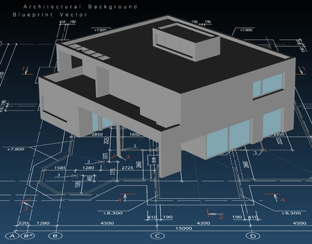 exterior architectural details: Architecture model house with blueprint
