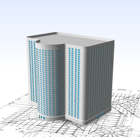 concrete block: Modern white building  Vector