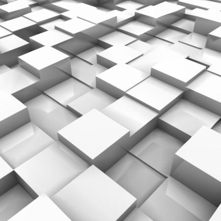 abstract 3d blocks: White brick wall, with random height bricks