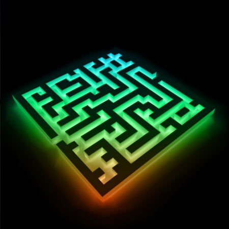 Vector of colorful maze  labyrinth  on black background Stock Vector - 12931228