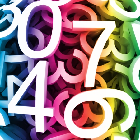 led display: Abstract background with colorful digital numbers  Vector