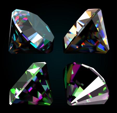fake diamond: Set of jewelry gems on black background  Vector Illustration