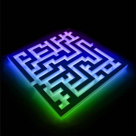 Colorful maze  labyrinth  on black background
