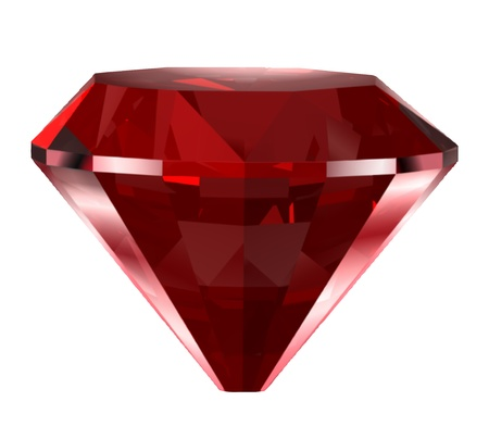 ruby gemstone: Red diamond isolated on white  Vector Illustration