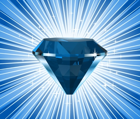 Diamond on a blue background  Vector Stock Vector - 13056366