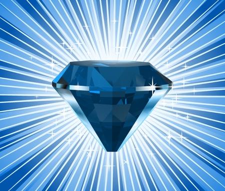 diamond stones: Diamond on a blue background  Vector