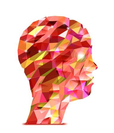 Human head  Abstract illustration of triangles Illustration