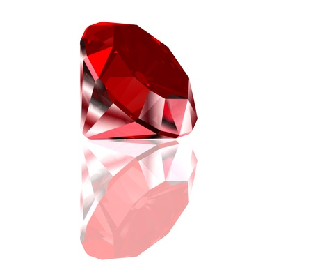valueables: Red diamond isolated on white