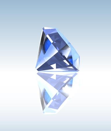 Blue diamond with reflection Illustration