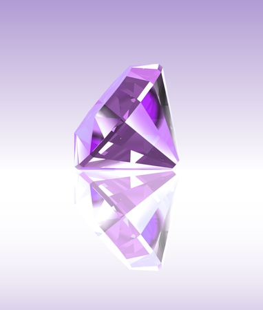 opal: Violet diamond with reflection
