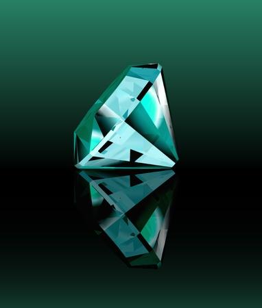 Cyan diamond with reflection