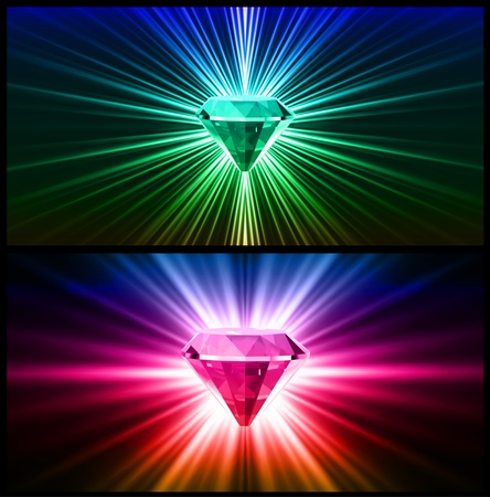 glister: Two Colorful diamonds on bright backgrounds  Illustration