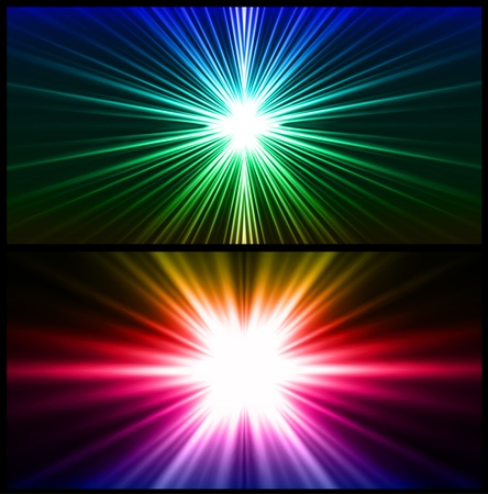 Colorful rays of light  Two background Illustration
