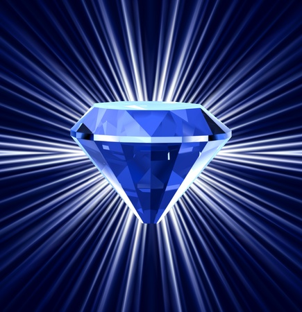 refraction: Blue diamond on bright background  Illustration