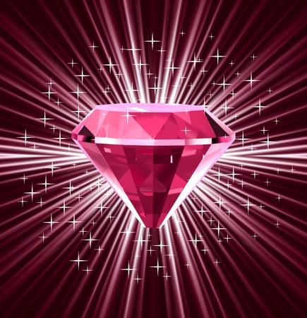 brillante: Diamante rosso su sfondo luminoso