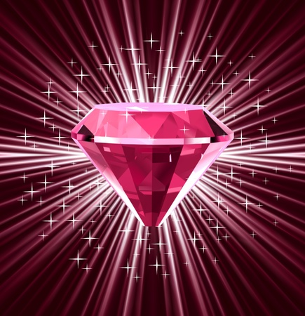 Red diamond on bright background  Vector
