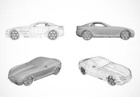 luxury travel: Ajuste del dise�o de coches en la ilustraci�n