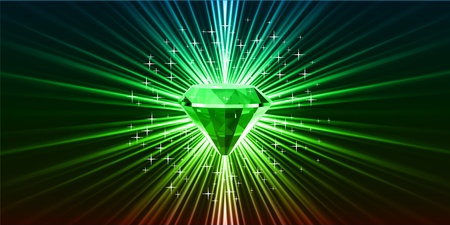 Green crystal background with stars
