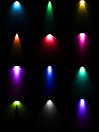 Set colorful lamp light light sources Vector