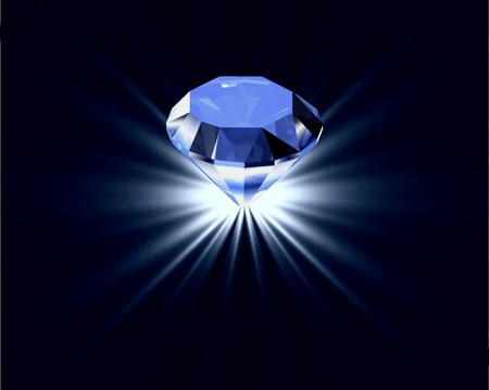 Blue diamond with reflection bright background