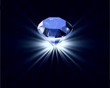 zafiro: Diamante azul con el fondo de la reflexi�n luminosa Vectores