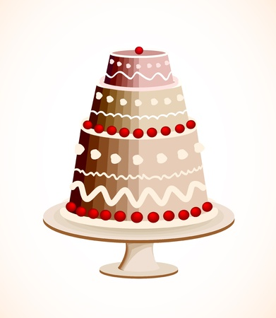 Chocolate cake with berry Stock Vector - 13142712